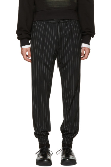 Juun.J - Black Pinstripe Drawstring Trousers