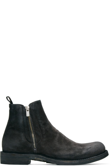 Officine Creative - Grey Suede Ikon 39 Zip Boots