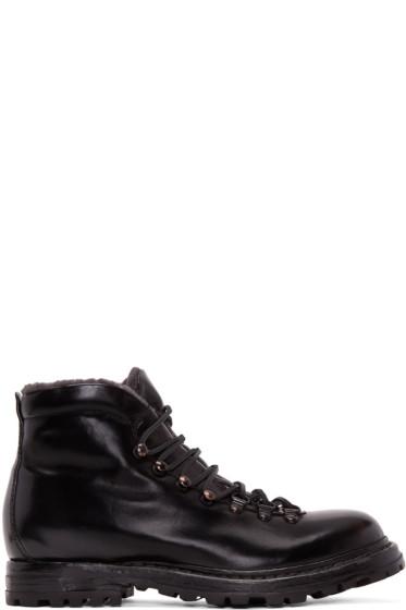 Officine Creative - Black Shearling Kontra Hiking Boots