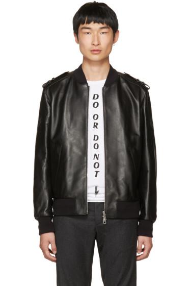 Neil Barrett - Black Leather Military Bomber Jacket