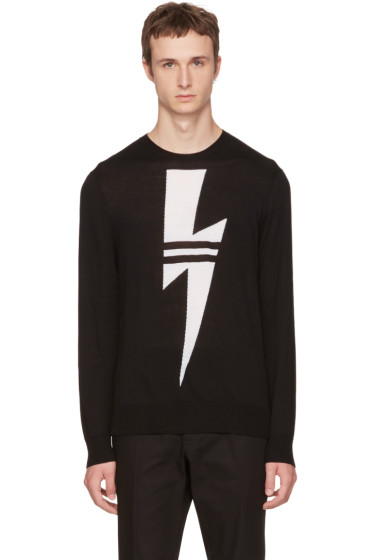 Neil Barrett - Black Double Stripe Thunderbolt Sweater