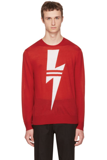 Neil Barrett - Red Double Stripe Thunderbolt Sweater