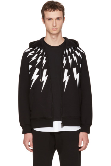 Neil Barrett - Black Neoprene Fairisle Thunderbolt Hoodie