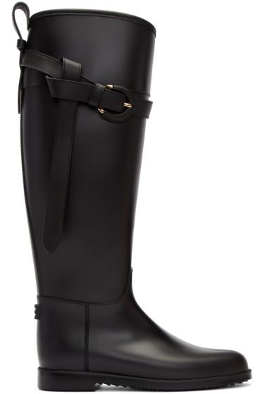 Burberry - Black Roscot Riding Rain Boots