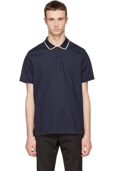 Burberry - Navy Striped Collar Polo