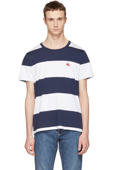 Burberry - Navy & White Large Stripe Logo T-Shirt