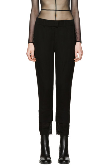 Ann Demeulemeester - Black Mustang Cropped Trousers