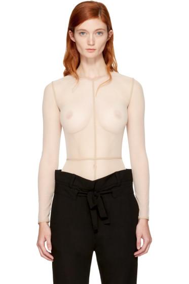 Ann Demeulemeester - Beige la fille d'O Edition Tulle Bodysuit