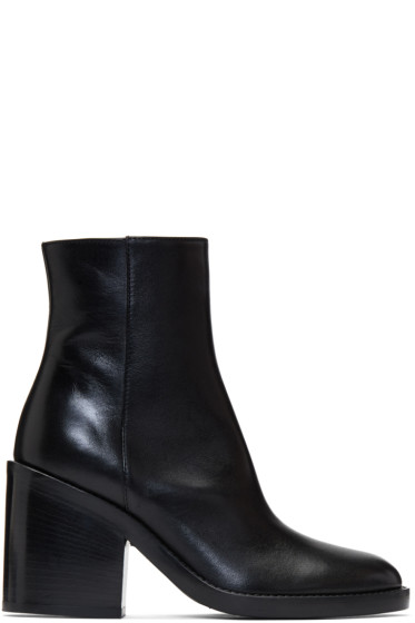 Ann Demeulemeester - Black Heeled Leather Boots