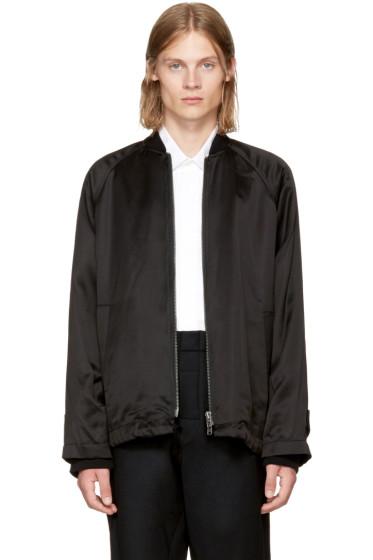 Ann Demeulemeester - Black Satin Bomber Jacket