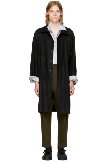 Ann Demeulemeester - Black Raw Cut Trench Coat