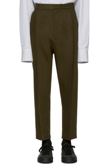 Ann Demeulemeester - Green Classic Pleat Trousers