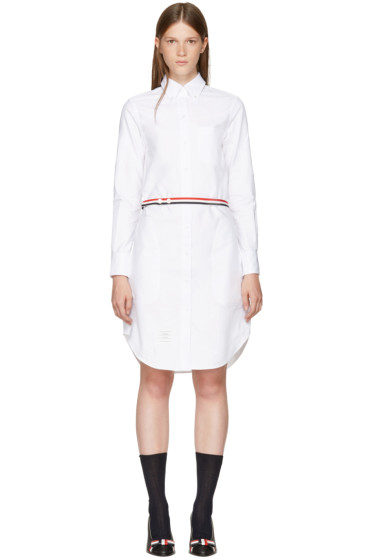 Thom Browne - White Stripe A-Line Shirt Dress