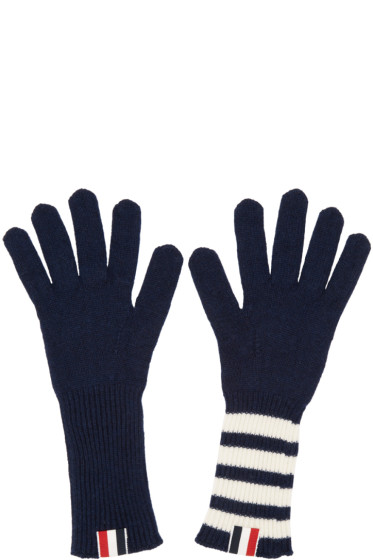 Thom Browne - Navy Rib Cashmere Four Bar Gloves