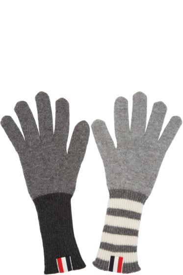 Thom Browne - Grey Rib Cashmere Funmix Four Bar Gloves