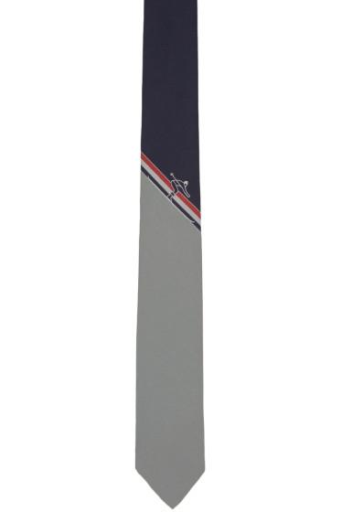Thom Browne - Navy Skier Stripe Classic Tie