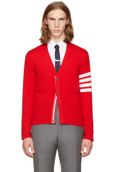 Thom Browne - Red Classic V-Neck Cardigan