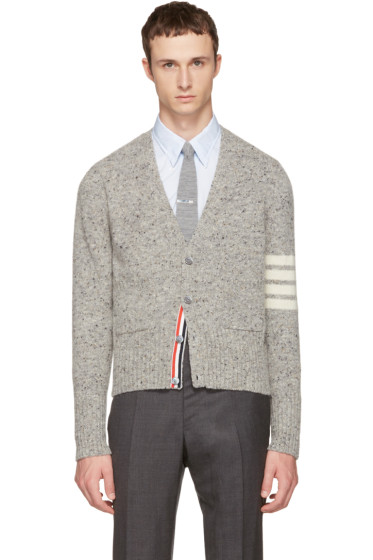 Thom Browne - Grey Classic Mohair V-Neck Cardigan