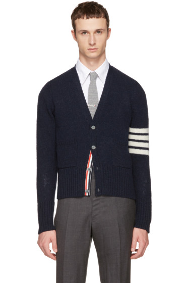 Thom Browne - Navy Classic Mohair V-Neck Cardigan