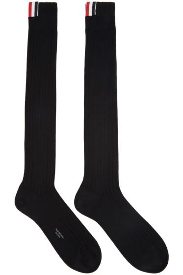 Thom Browne - Black Ribbed Knee-High Socks