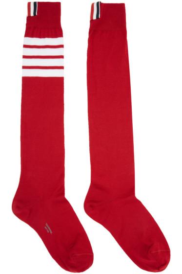 Thom Browne - Red Ribbed Knee-High Four Bar Socks