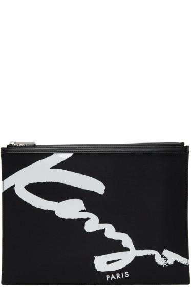 Kenzo - ブラック シグネチャ ロゴ ポーチ
