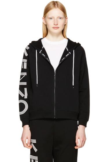 Kenzo - ブラック ロゴ スリーブ ジップ フーディ