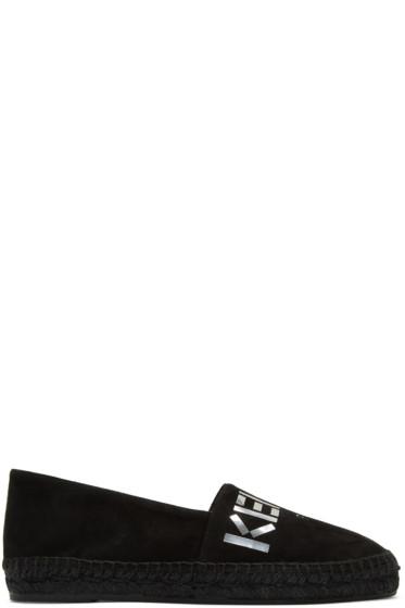Kenzo - ブラック スエード ロゴ エスパドリーユ