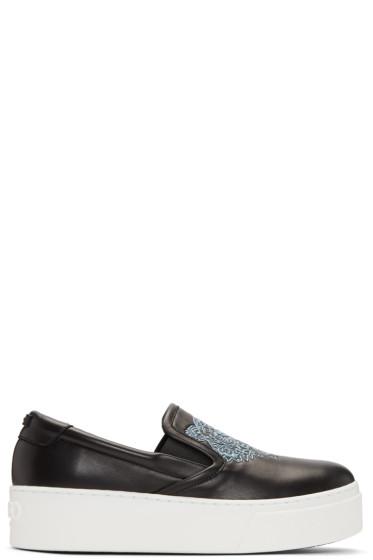 Kenzo - Black K-PY Tiger Platform Slip-On Sneakers