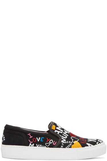 Kenzo - Black Limited Edition 'I Love You' K-Skate Slip-On Sneakers