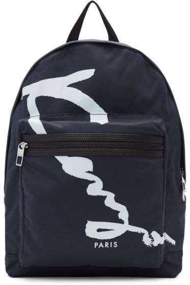 Kenzo - Navy Signature Logo Backpack