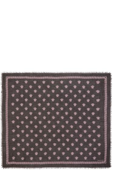 Versace - Black & Pink Medusa Modal Scarf