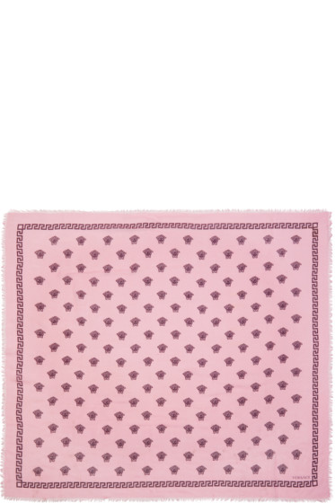 Versace - Pink & Burgundy Medusa Modal Scarf