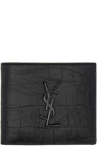 Saint Laurent - Black Croc Monogram East West Wallet