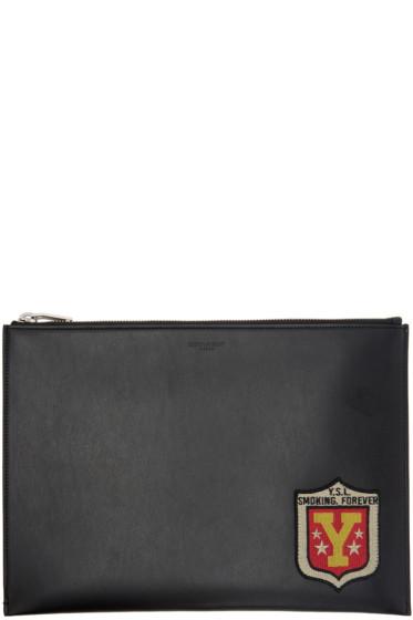 Saint Laurent - Black 'Smoking Forever' Patch Tablet Holder