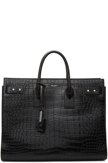 Saint Laurent - Black Croc Large Sac De Jour Tote