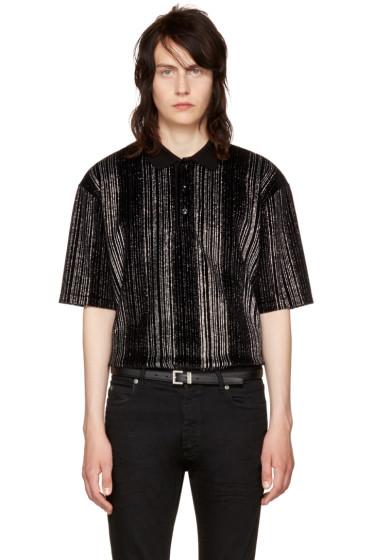 Saint Laurent - Black Striped Glitter Polo