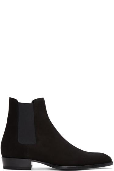 Saint Laurent - Black Suede Wyatt Chelsea Boots