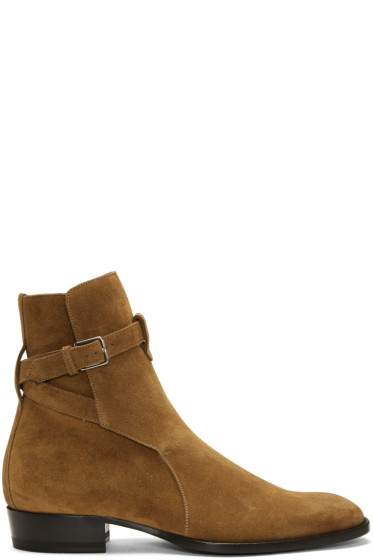 Saint Laurent - Tan Suede Wyatt Jodhpur Boots