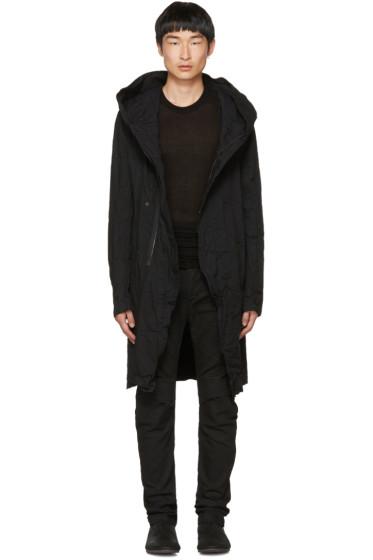 Julius - Black Denim Long Hooded Coat