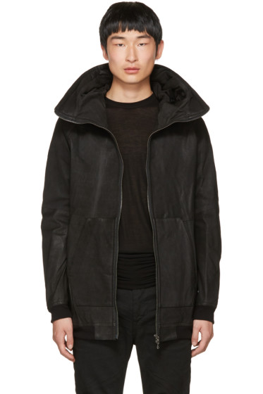Julius - Black Nubuck Hooded Jacket