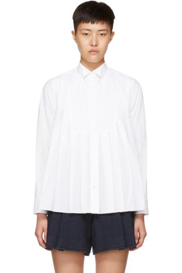 Sacai - White Pleated Bib Shirt