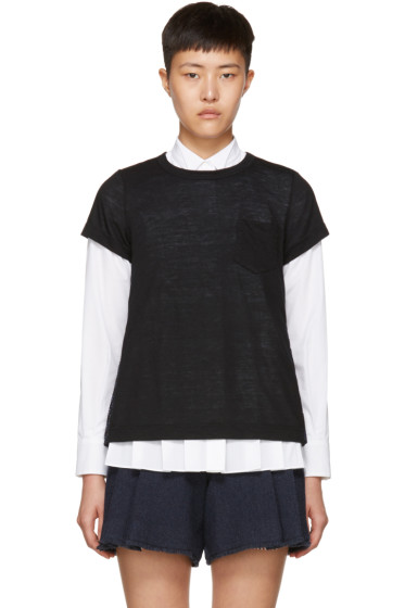 Sacai - Black & Navy Hybrid Lace T-Shirt