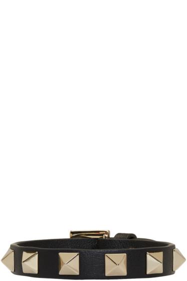 Valentino - Black Leather Single Rockstud Bracelet