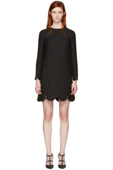 Valentino - Black Scallop Rockstud Dress