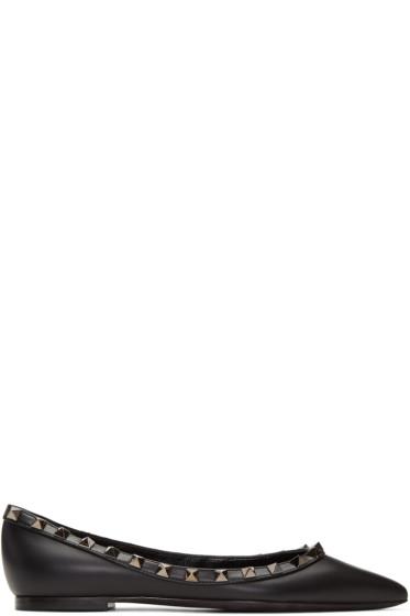 Valentino - Black 'Rockstud Noir' Ballerina Flats