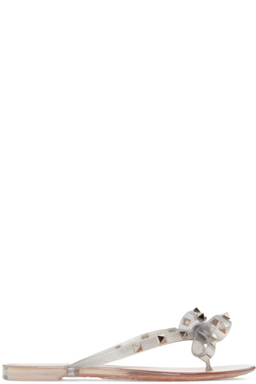 Valentino - Silver Rockstud Jelly Bow Sandals