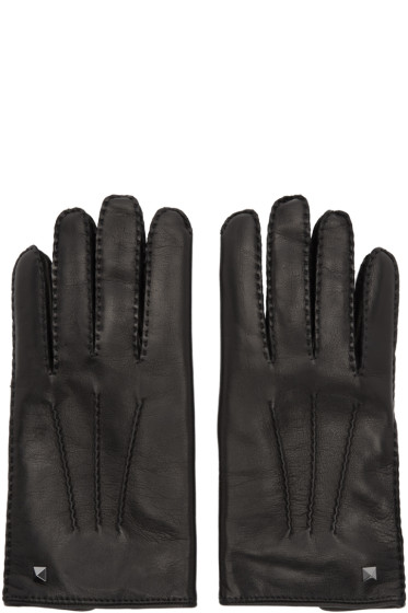 Valentino - Black Mini Rockstud Gloves