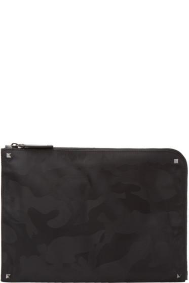 Valentino - Black Nylon Camo Zip Pouch