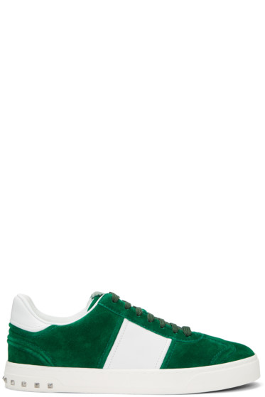 Valentino - Green & White Fly Crew Sneakers